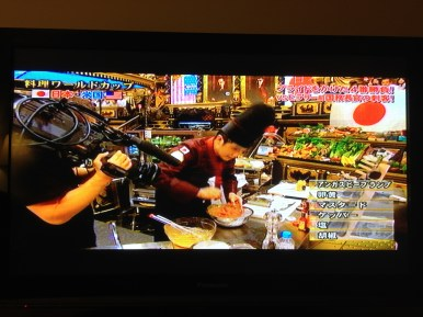 One of the Japanese Iron Chefs is hard at work during the USA vs Japan beef battle.
