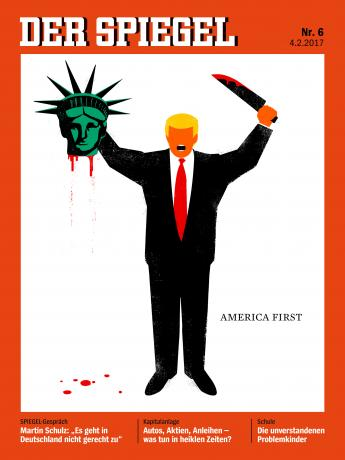 U. S. President Donald Trump is depicted beheading the Statue of Liberty in this illustration on the cover of the latest issue of German news magazine Der Spiegel. Spiegel/Handout via REUTERS