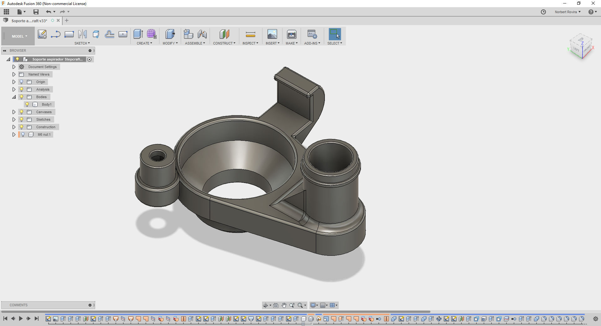 Design of a vacuum adapter for my Stepcraft CNC router