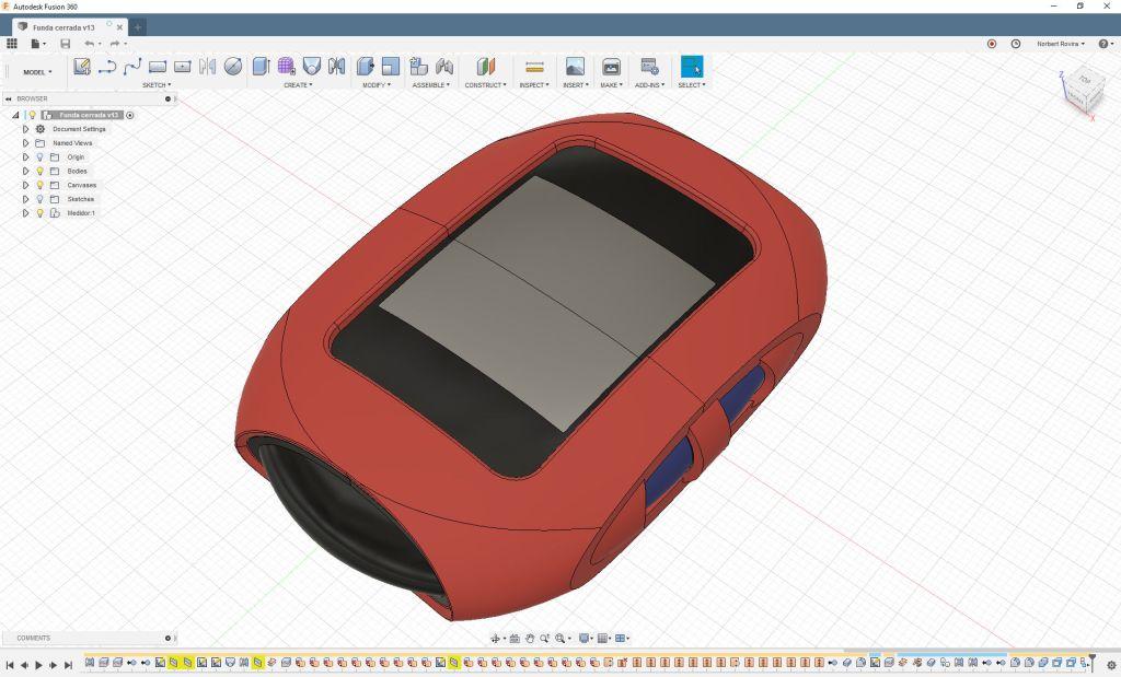 Funda medidor modelado 3D en Fusion 360