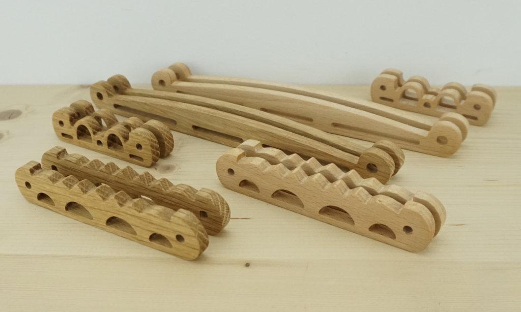 Piezas bolso vikingo en madera con CNC