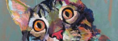 Cropped pastel portrait of cat face