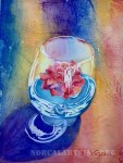 Bright watercolor painting of a wine glass containing a red flower floating in water.