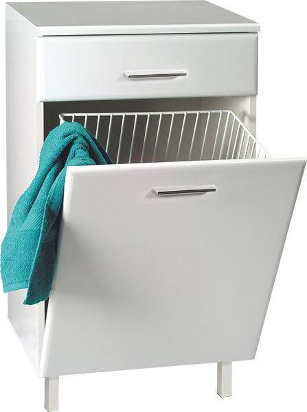 Badschrank weiss mit intgriertem Wschekorb Schrank mit Handtuchaufbewahrung  NordAqua