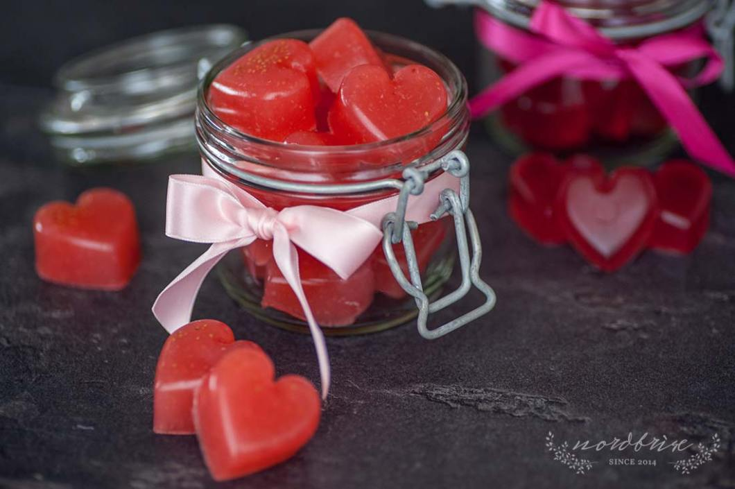 Happy Valentines Day with Chocolate Cranberry and Strawberry Pistachio Hearts and Jelly Bean Fruit Gums with Strawberry and Cranberry Juice by Eve | nordbrise