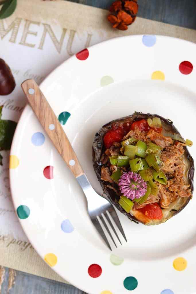 melanzana al cartoccio con pulled pork
