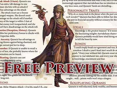 Free gift for our fabulous Instagram followers! Free character preview pages direct from 'Ultimate NPCs: Skulduggery'; a complete NPC with full stat blocks at levels 1, 4, 8 and 12, including full-color artwork, role-playing notes, narrative development and plot hooks to fully integrate into your game world.Click below to add the free download to your cart!