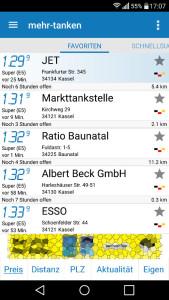 "Screenshot der Android-App ""MehrTanken"""
