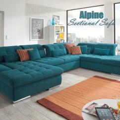 Blue Suede Sofa Flexform Bezug Waschen Alpine Sectional : Sleeper With Storage