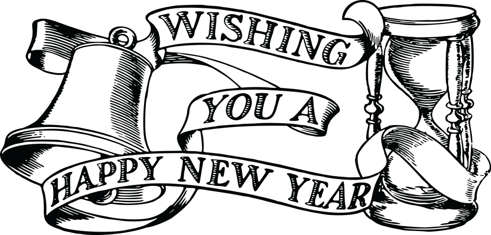 medium resolution of 1822 free clipart of a bell hourglass and happy new year banner