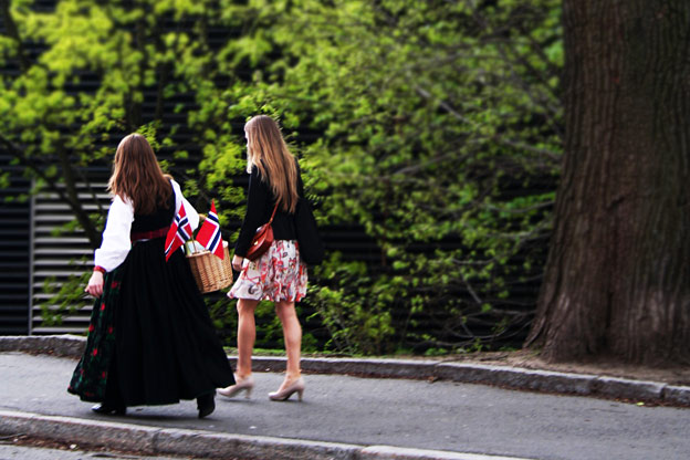 Bunad (to the left), the national costume in Norway