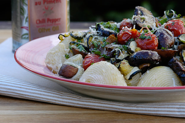 Summer pasta with slow-roasted vegetables