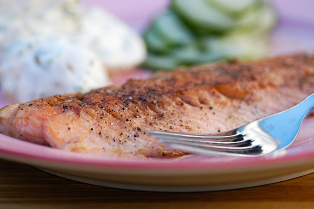 Pan-fried trout with potato salad and cucumbers