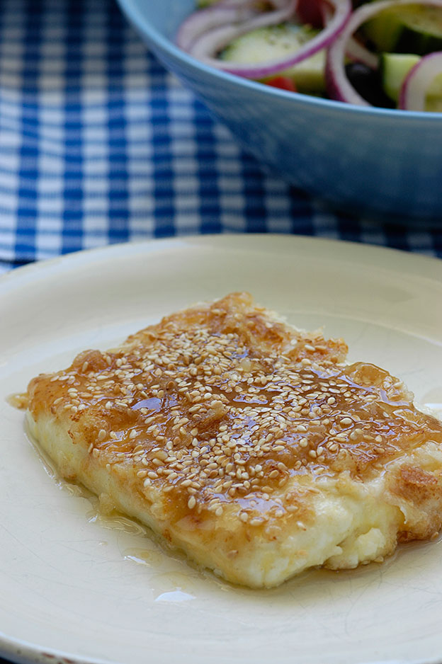 Saganaki with honey and feta cheese