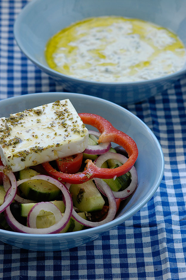 Greek salad and tzatziki