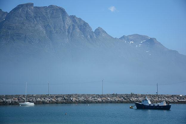 The harbour and the neighbouring island dressed in fog
