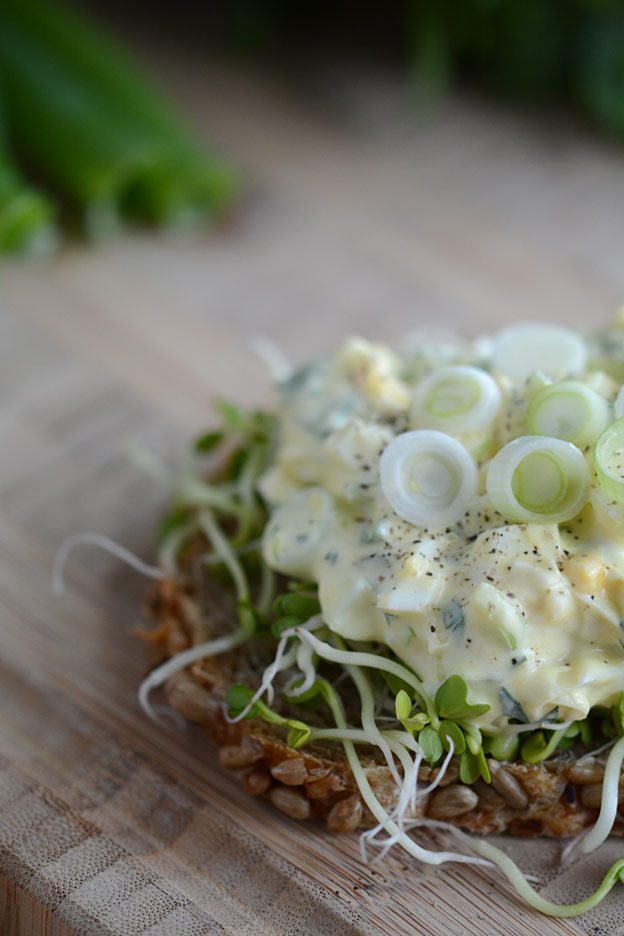 Healthy egg salad with lots of salad