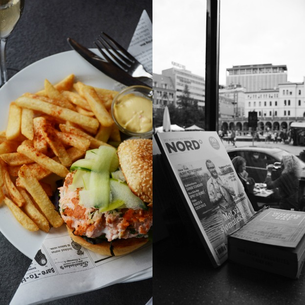 Salmon burger at the window seat while gazing at people passing by?