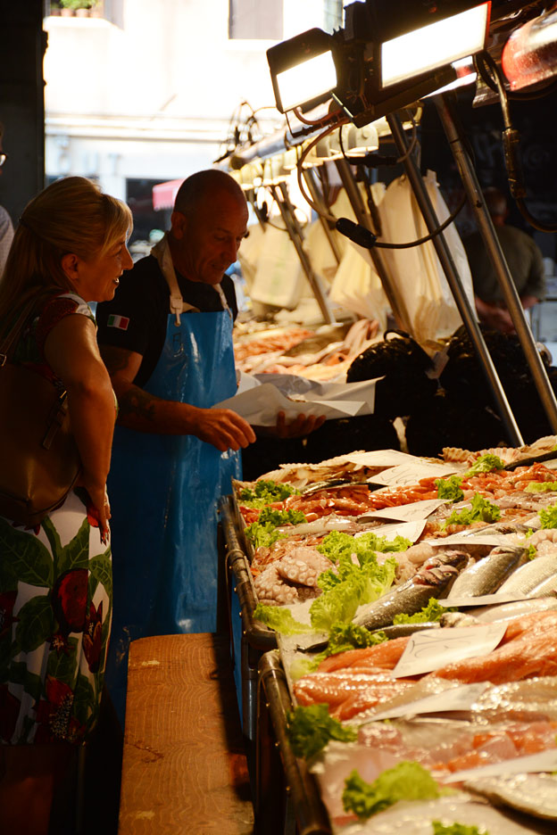 The fishmonger at the Rialto market
