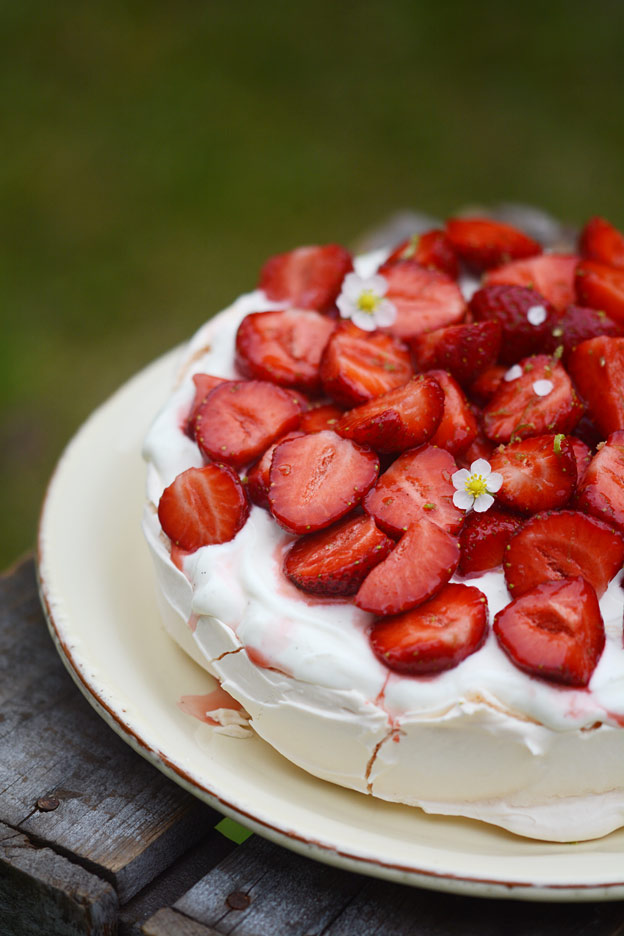 Strawberry pavlova with yogurt and lime.