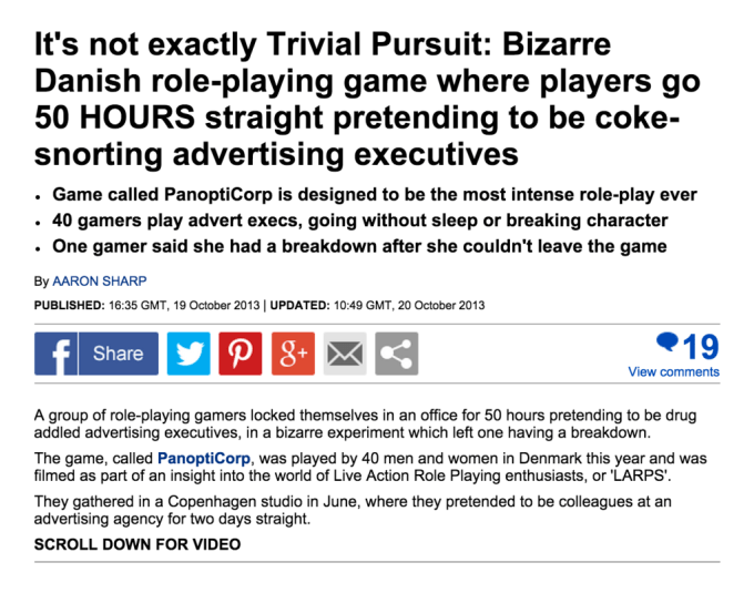 Sharp, Aaron. (2013, October 19). It's not exactly Trivial Pursuit. The Daily Mail. Retrieved from: http://www.dailymail.co.uk/news/article-2467492/PanoptiCorprole-playing-craze-Denmark-players-50-hours-straight-pretending-coke-snortingadvertising-executives.html