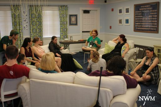 Greene running a workshop in NWM 1. Photo by Learn Larp LLC.