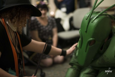 Students show empathy for a chupacabra in NWM3. The rights of parasapient creatures are a major subject of debate in the larp. Photo by Learn Larp LLC.