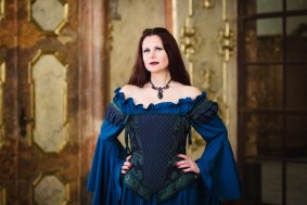 A vampire in a Renaissance gown