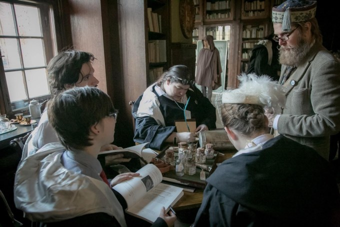 Larping in Czocha Castle for College of Wizardry 1 as a wheelchair-using player. (Photo by: Christina Molbech)