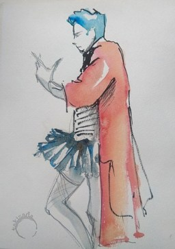 Painting of a person in long red coat and tutu