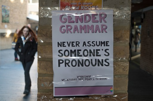 "A sign on a public wall that says ""Gender Grammar: Never Assume Someone's Pronouns"" with a person walking by"