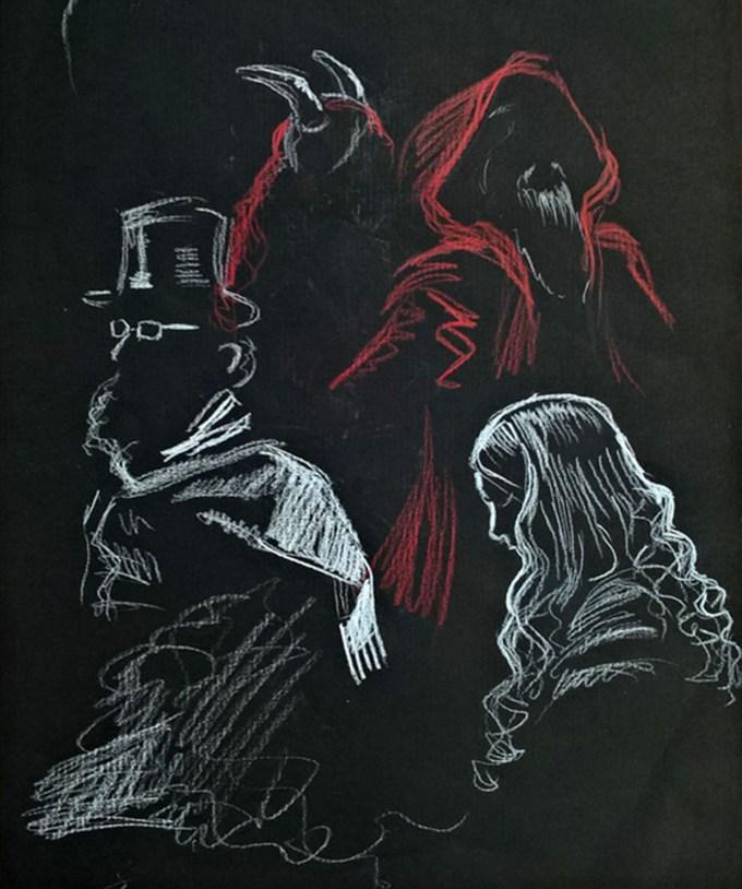 Freak Show larp documentation drawing by Aarni Korpela.