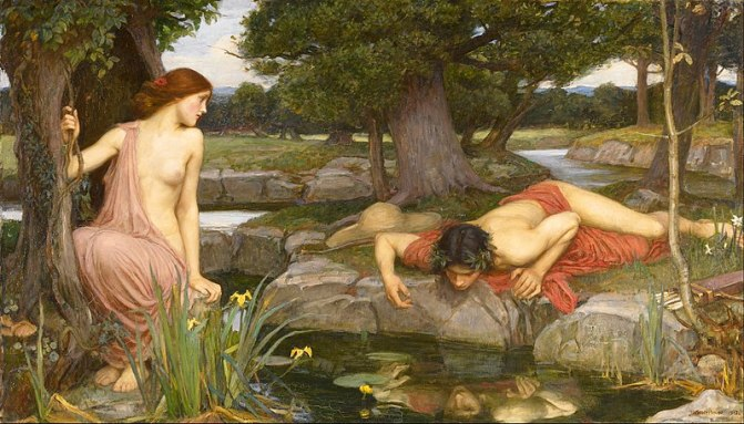 Painting of a woman gazing longingly at a man staring at himself in a lake