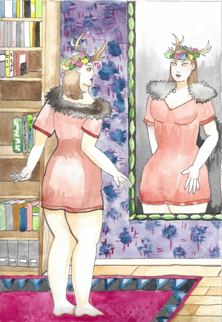 Painting of a person looking in the mirror at their image. They are wearing horns and a flower crown with fur lining their shoulders.