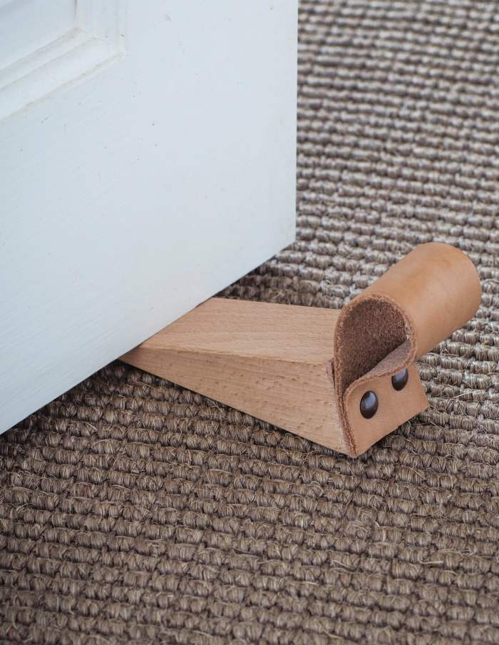 Wood and Leather Door Stop