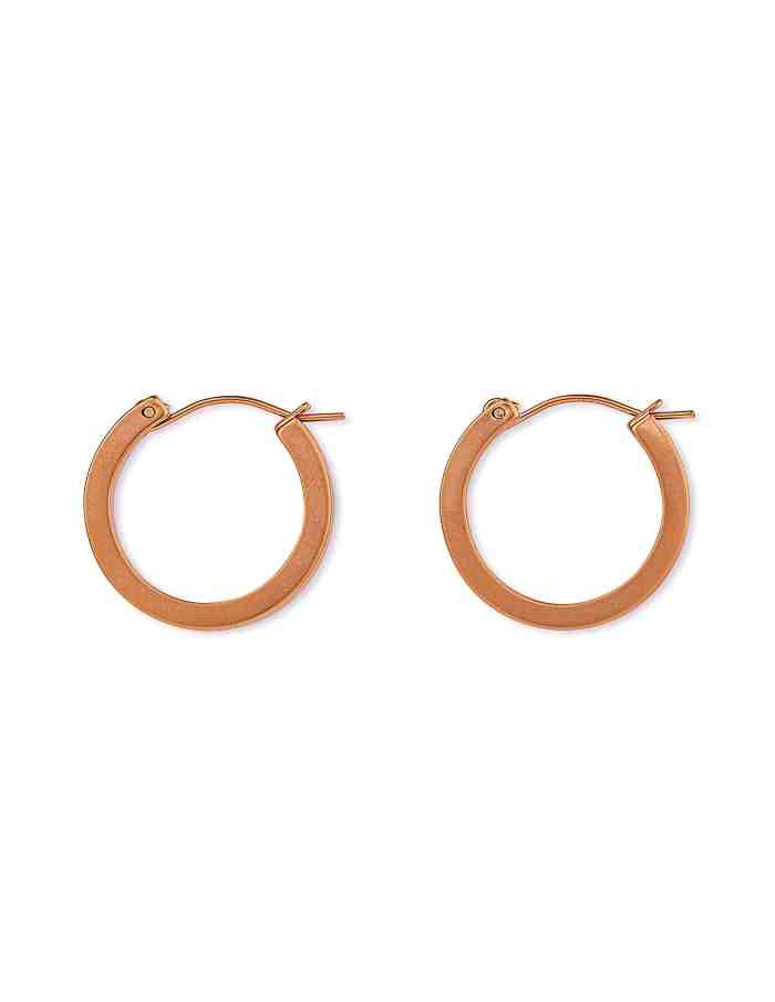Matte Rose Gold Hoop Earrings, Small
