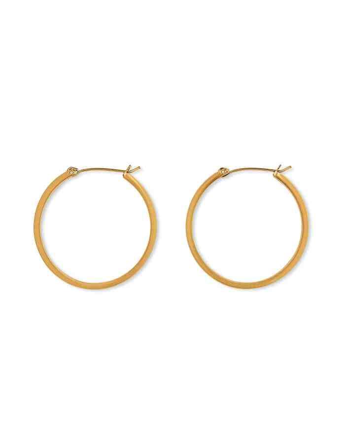 Matte Gold Hoop Earrings, Medium
