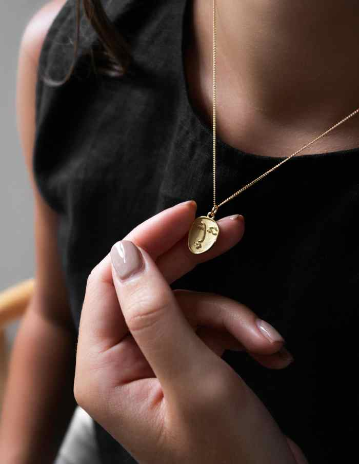 Gold Vermeil Face Necklace