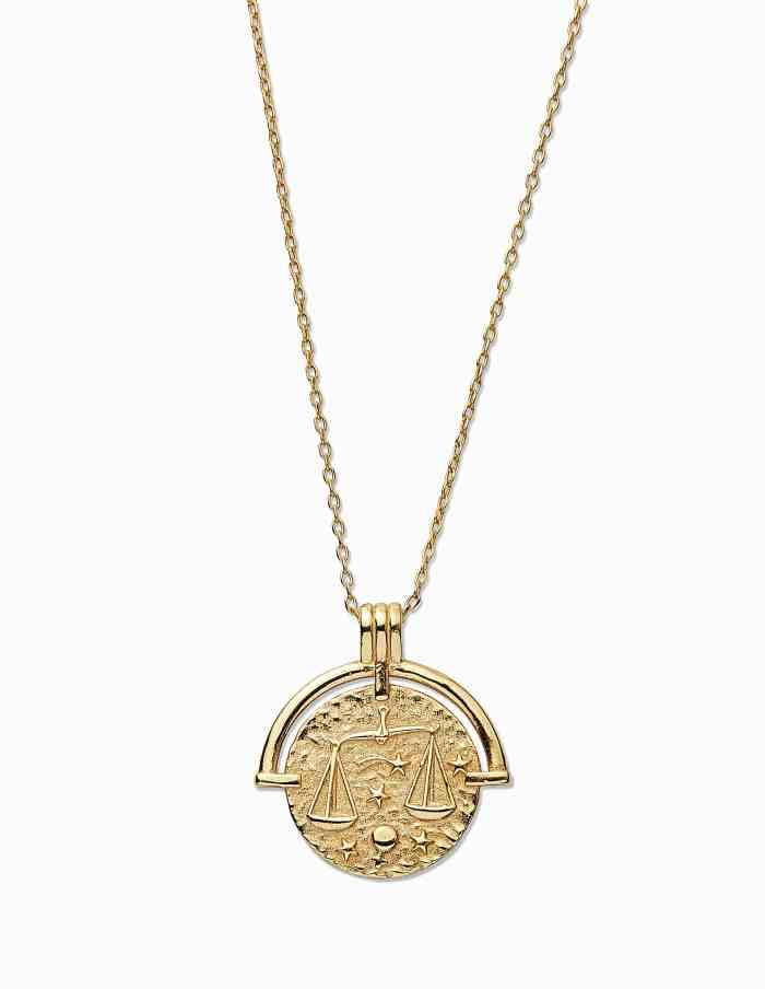 Gold Libra Zodiac Necklace
