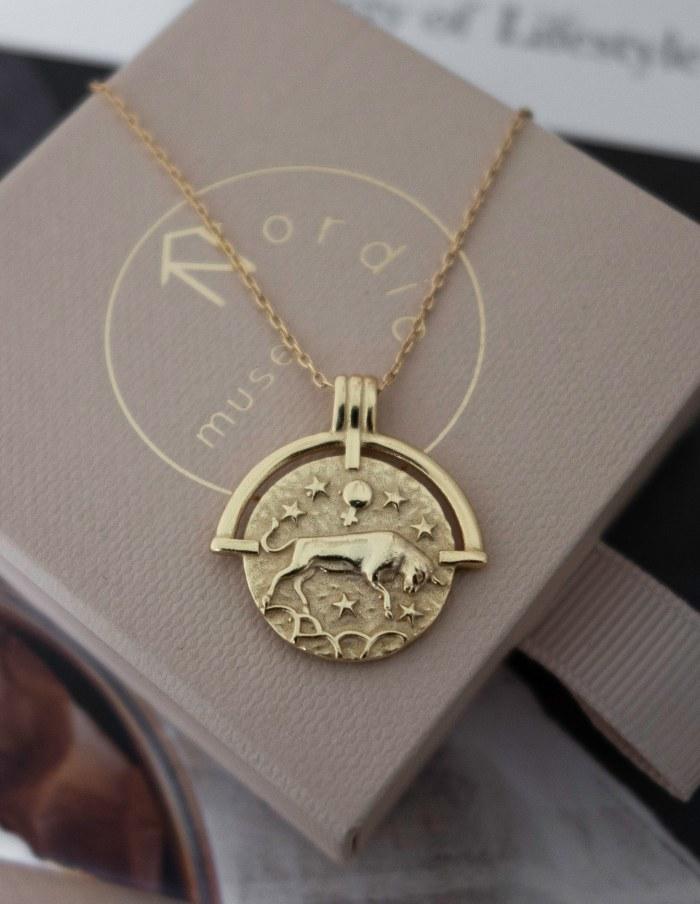 Taurus Zodiac Necklace, Gold Vermeil