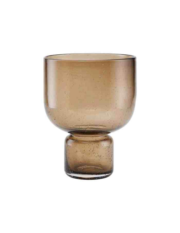 Amber Glass Pedestal Vase, House Doctor