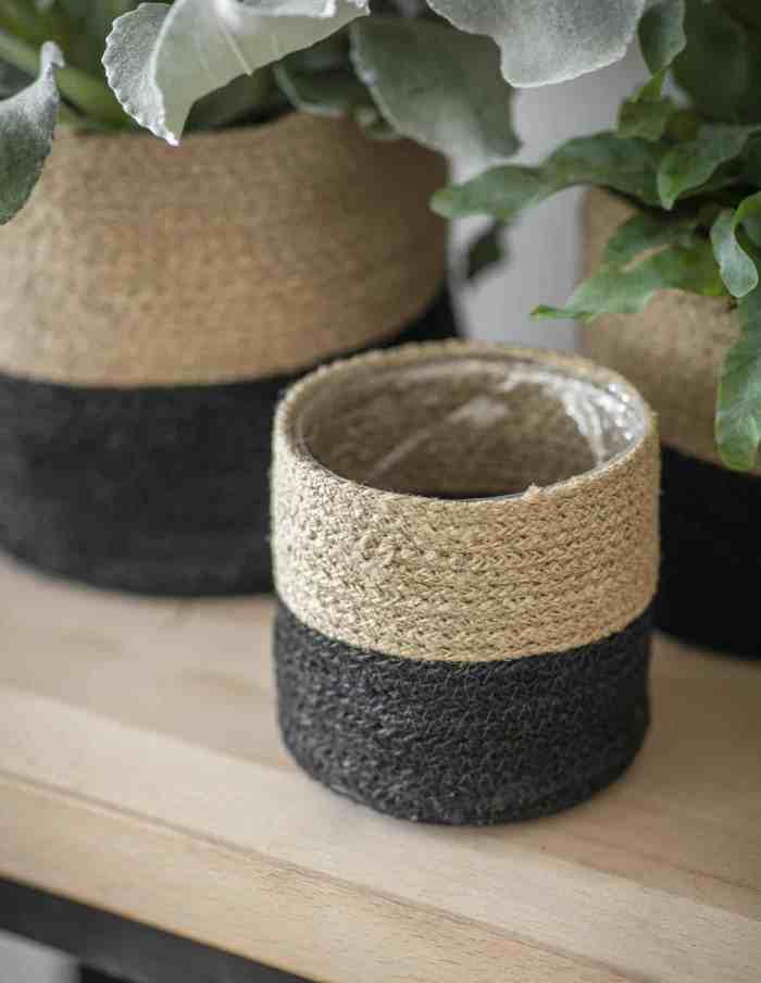 Large Striped Jute Plant Pot, Waterproof