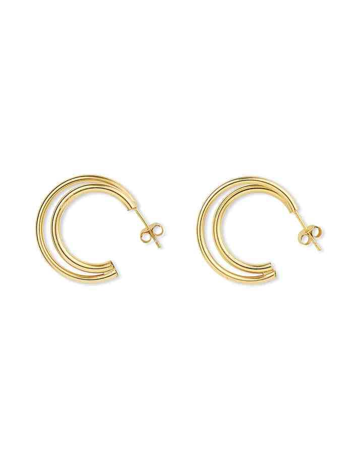 Gold Double Layered Hoop Earrings