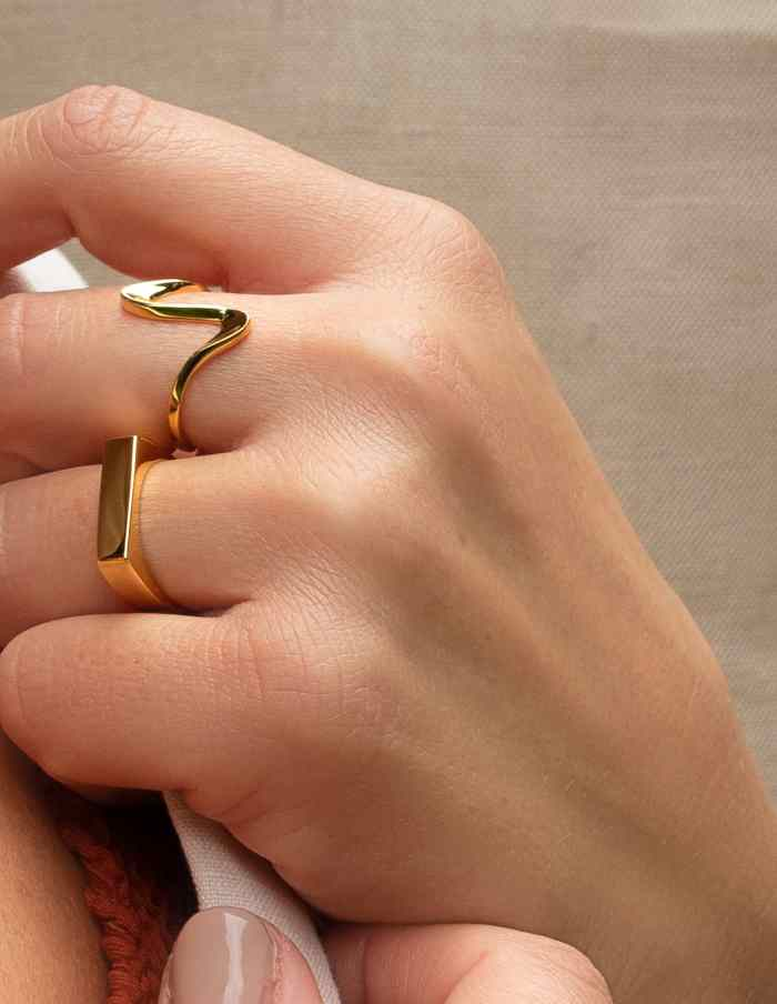 Gold Adjustable Squiggle Ring