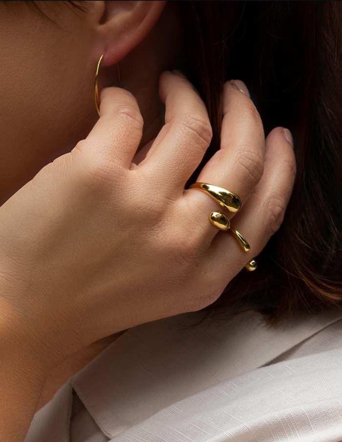 Gold Adjustable Dual Drop Ring