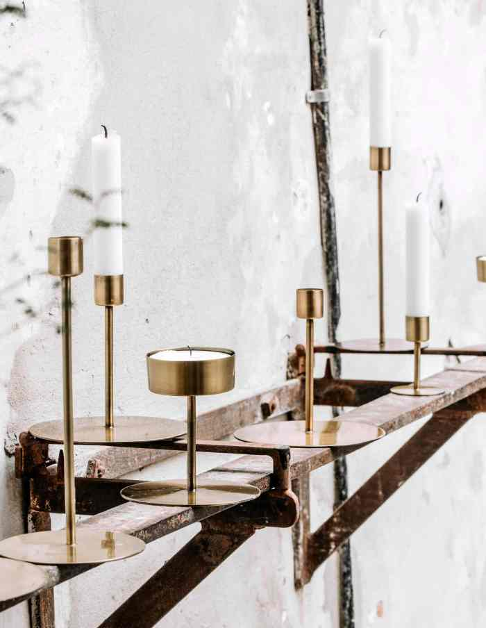Large Brass Candle Stand, House Doctor