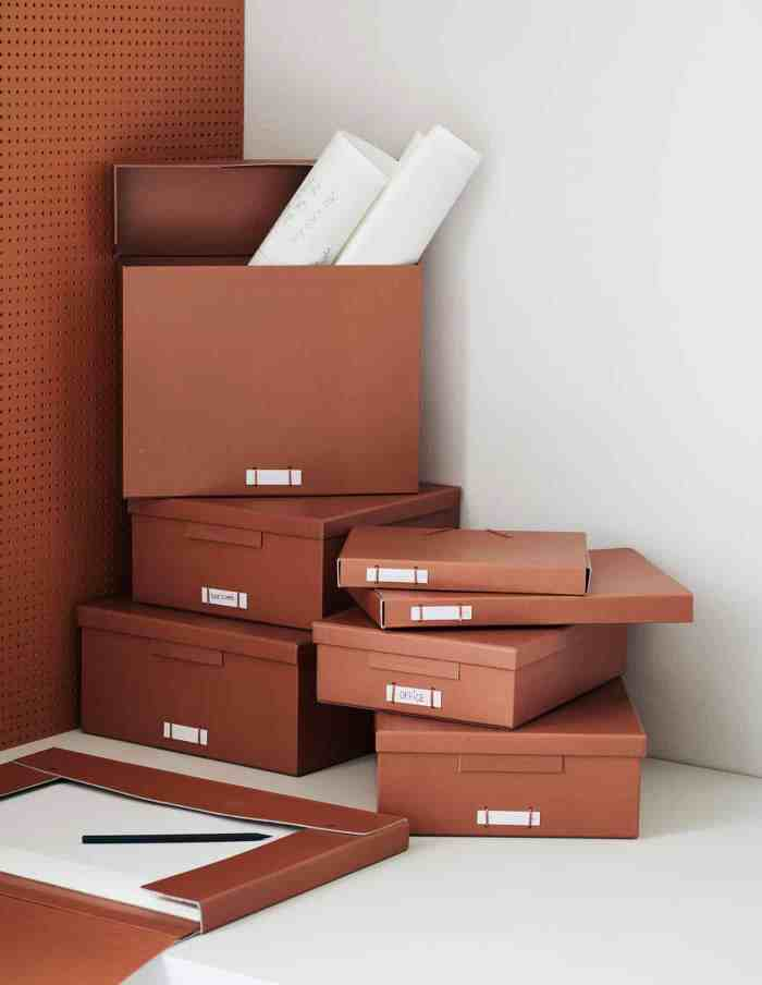 Large Cognac File Boxes with Lids, Monograph