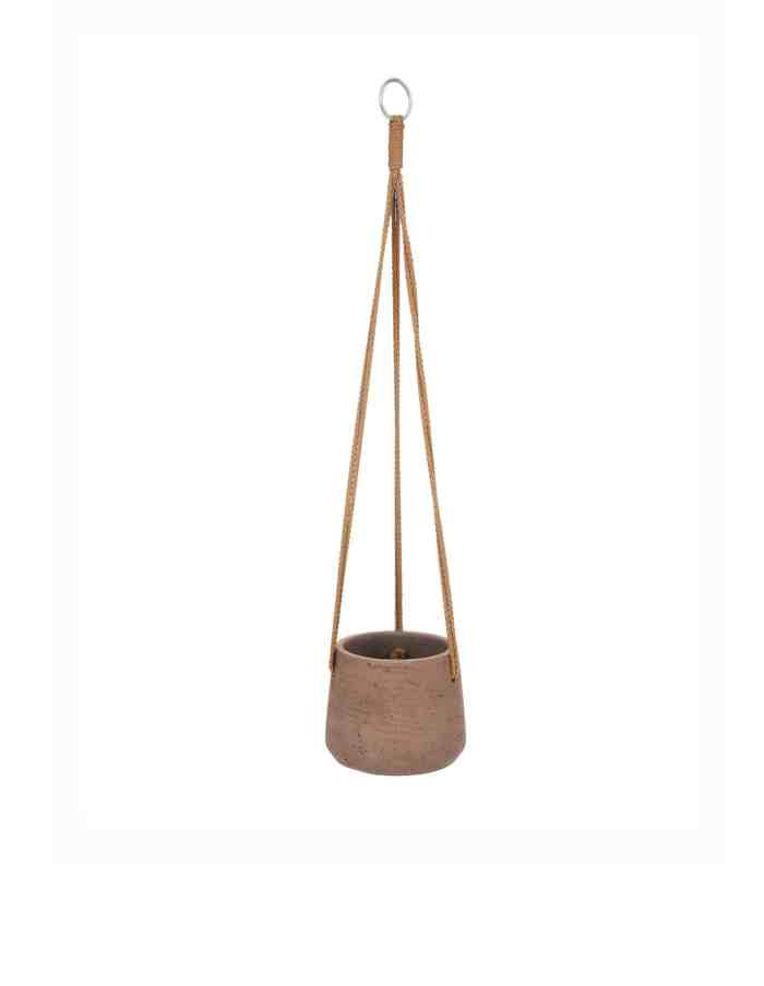Small Warm Stone Hanging Plant Pot, Concrete