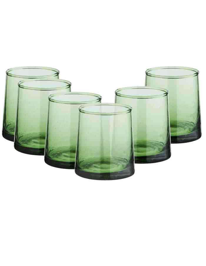 Set of 6 Mid Recycled Moroccan Beldi Glass, Green