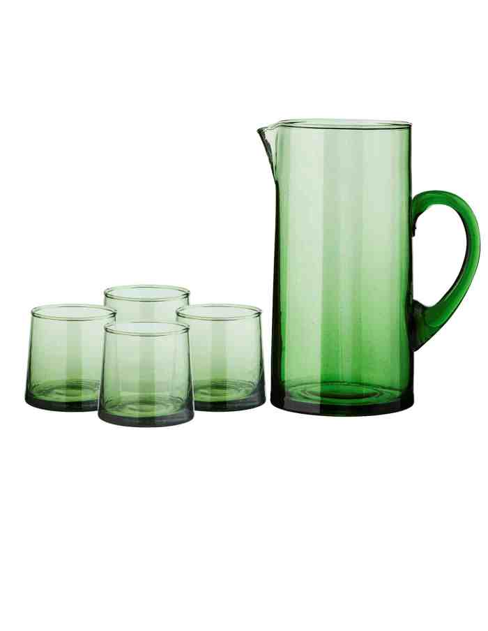 Set of Tall Recycled Moroccan Jug and 4 Low Glasses, Green